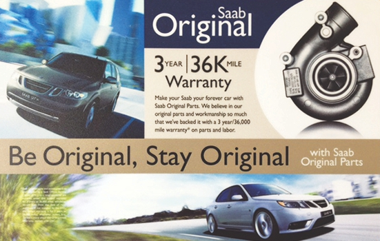 Saab original parts 3 year and 36k mile warranty verification