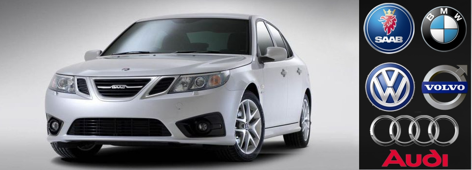 a 2014 white Saab car model